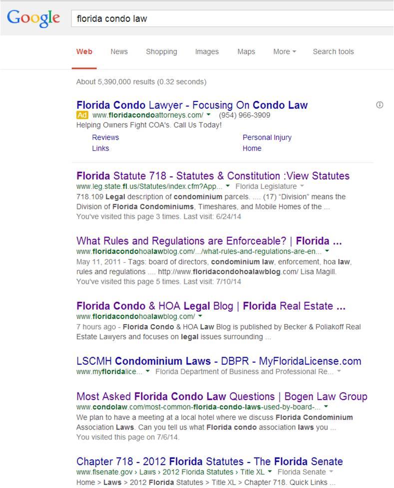 florida condo law search
