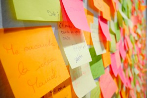 wall of post-it notes and ideas