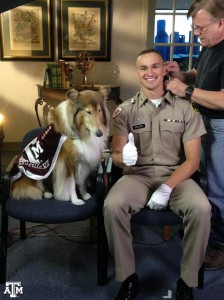 Texas A&M mascot Reveille and Cadet Ryan Kreider