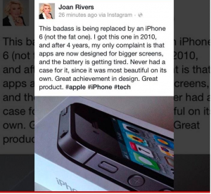 Joan Rivers' Facebook post for the iPhone 6