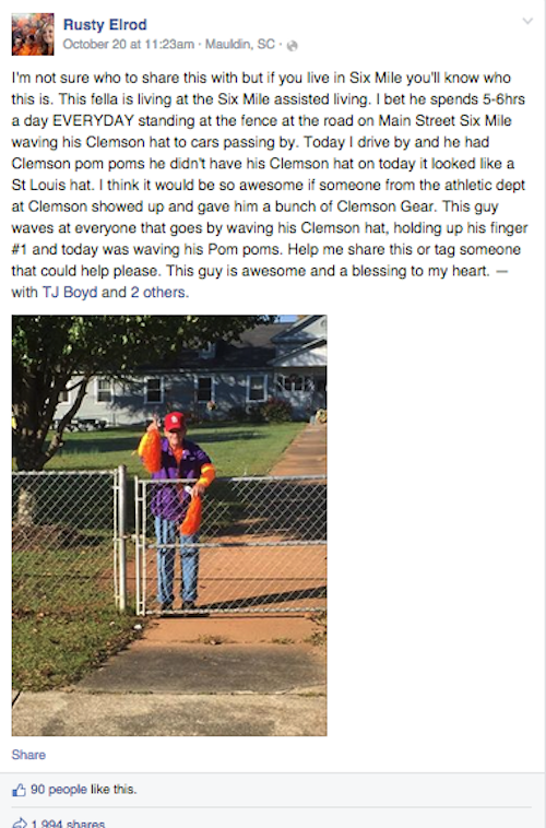 clemson roadside fan