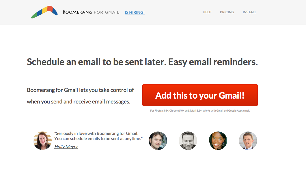 boomerang - add this to your gmail