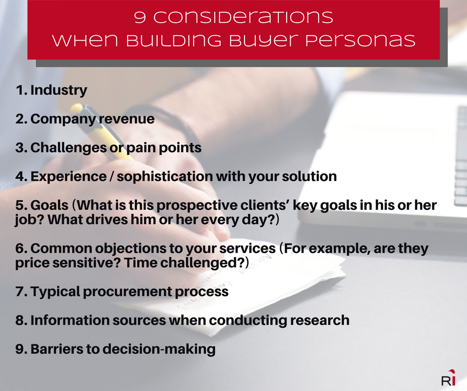 Manufacturing content marketing - buyer personas
